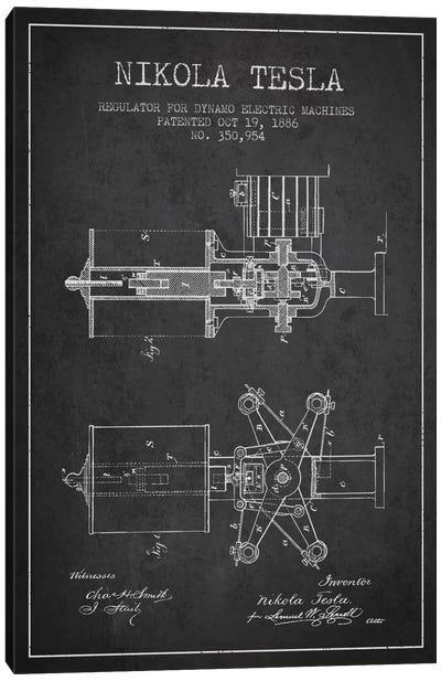 Tesla Regulator Charcoal Patent Blueprint Canvas Art Print
