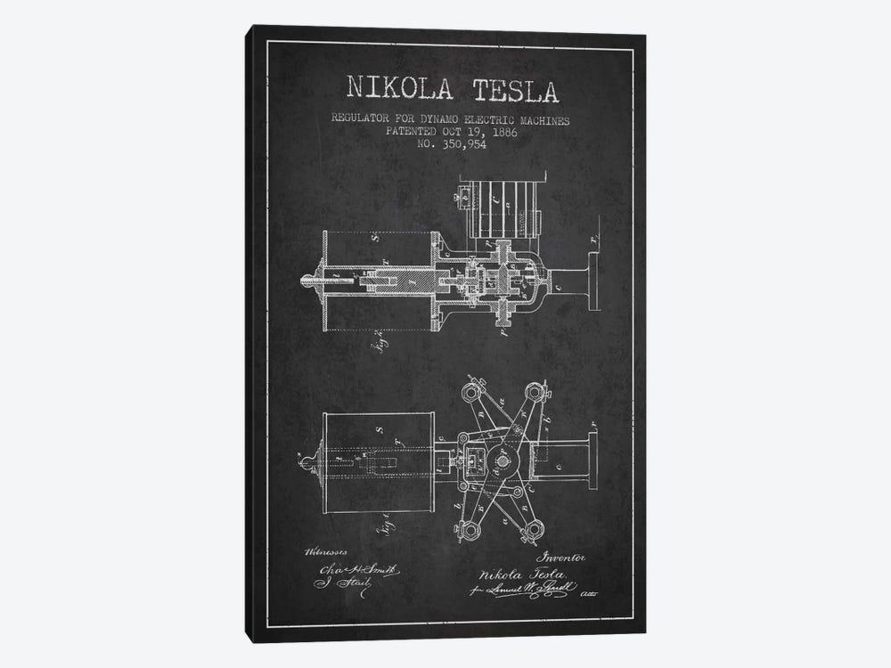 Tesla Regulator Charcoal Patent Blueprint by Aged Pixel 1-piece Canvas Art Print