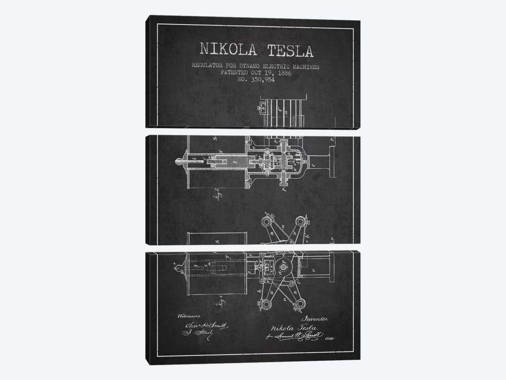 Tesla Regulator Charcoal Patent Blueprint by Aged Pixel 3-piece Art Print