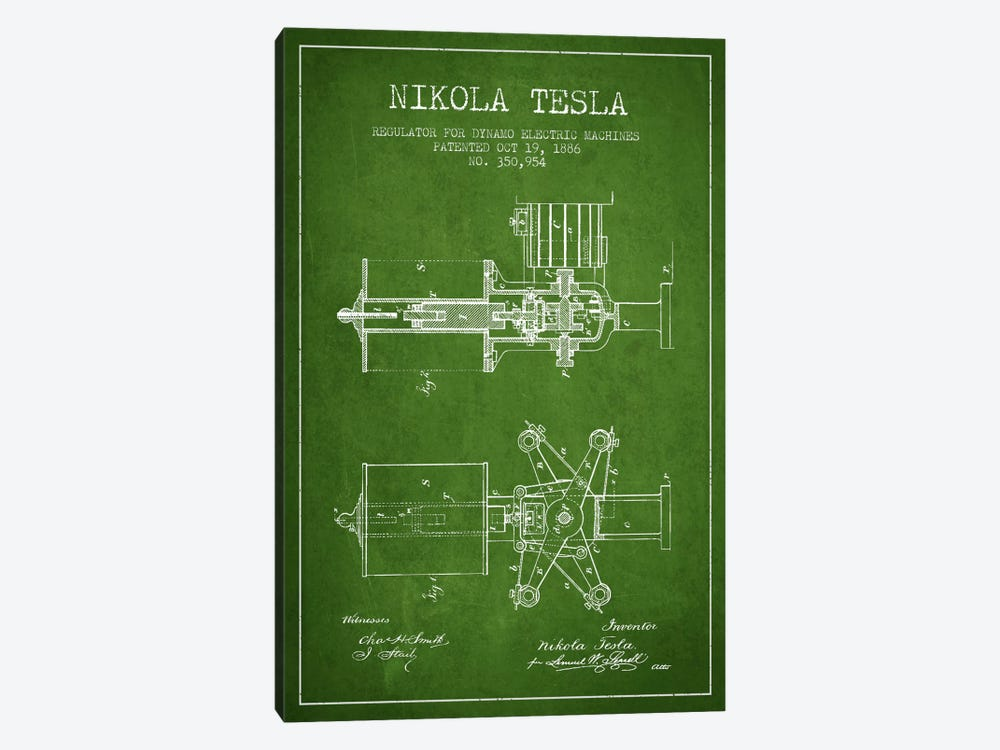 Tesla Regulator Green Patent Blueprint by Aged Pixel 1-piece Canvas Artwork
