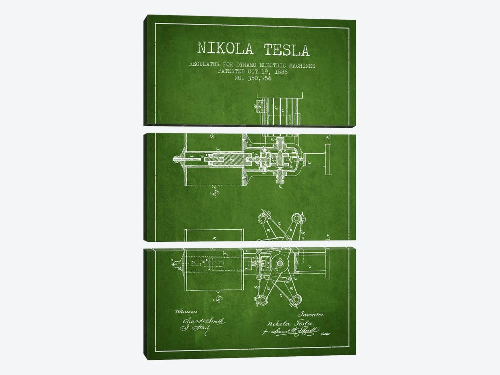 Tesla Regulator Green Patent Blueprint by Aged Pixel 3-piece Canvas Art
