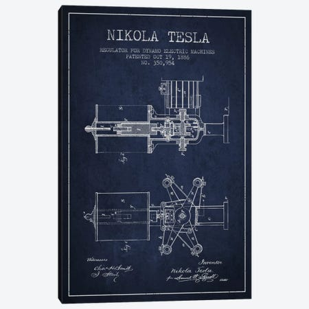 Tesla Regulator Navy Blue Patent Blueprint Canvas Print #ADP533} by Aged Pixel Canvas Print