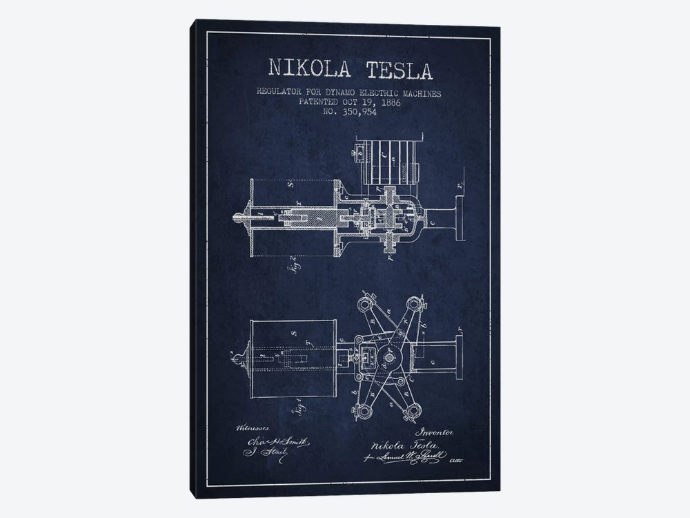 Tesla Regulator Navy Blue Patent Blueprint by Aged Pixel 1-piece Canvas Art Print