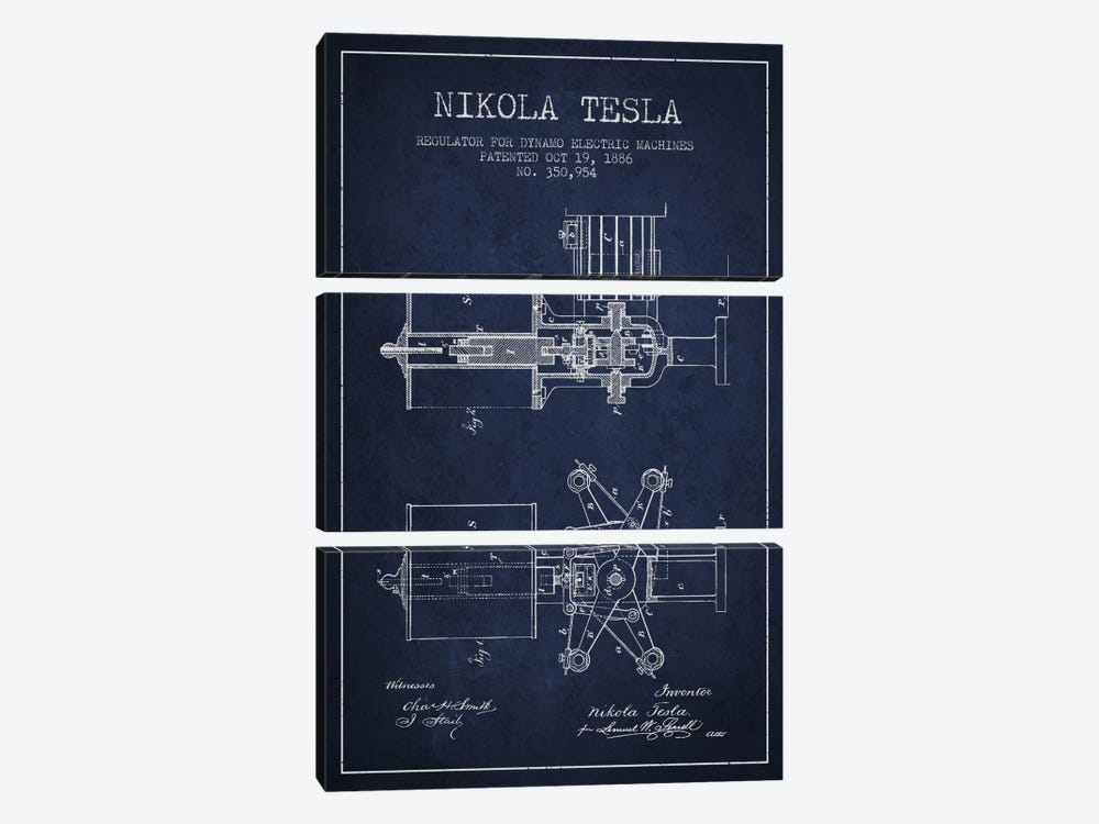 Tesla Regulator Navy Blue Patent Blueprint by Aged Pixel 3-piece Art Print