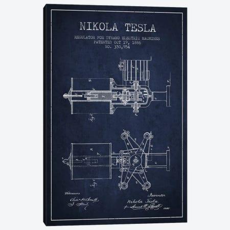 Tesla Regulator Navy Blue Patent Blueprint Canvas Print #ADP533} by Aged Pixel Canvas Print