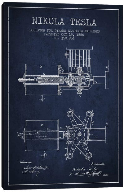 Tesla Regulator Navy Blue Patent Blueprint Canvas Art Print