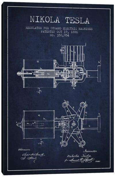 Tesla Regulator Navy Blue Patent Blueprint Canvas Art Print