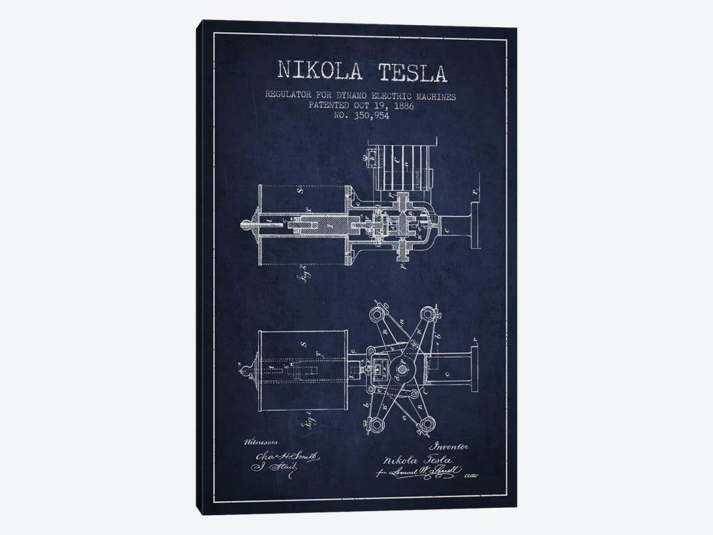 Tesla Regulator Navy Blue Patent Blueprint by Aged Pixel 1-piece Canvas Art Print