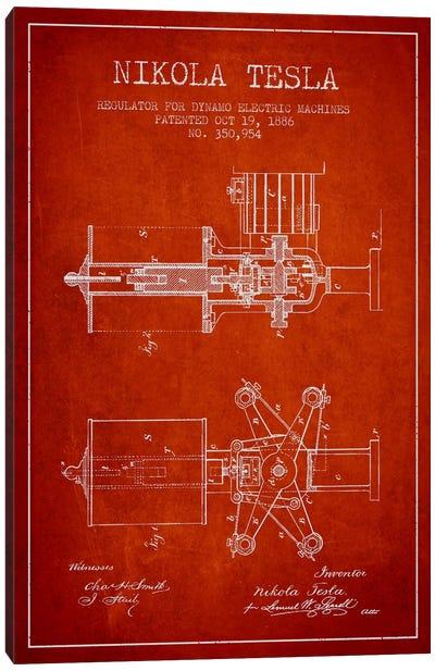 Tesla Regulator Red Patent Blueprint Canvas Print #ADP534