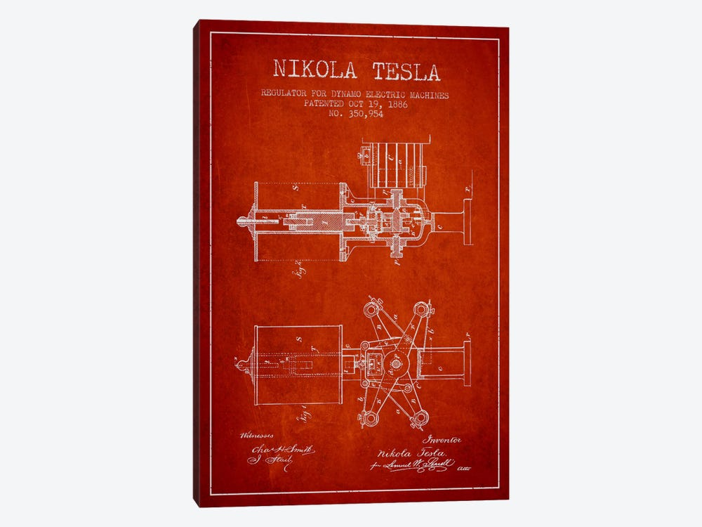 Tesla Regulator Red Patent Blueprint by Aged Pixel 1-piece Canvas Wall Art