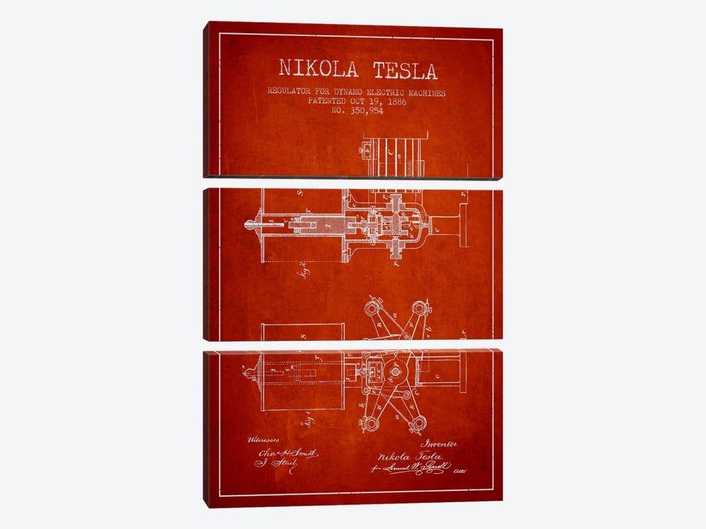 Tesla Regulator Red Patent Blueprint by Aged Pixel 3-piece Canvas Wall Art