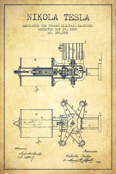 Tesla regulator vintage patent blueprint canvas p aged pixel canvas malvernweather Choice Image