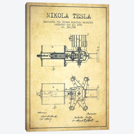 Tesla Regulator Vintage Patent Blueprint Canvas Print #ADP535} by Aged Pixel Canvas Art