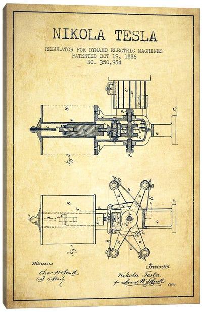 Tesla Regulator Vintage Patent Blueprint Canvas Art Print