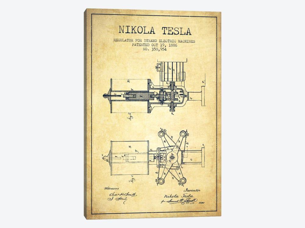 Tesla Regulator Vintage Patent Blueprint by Aged Pixel 1-piece Art Print