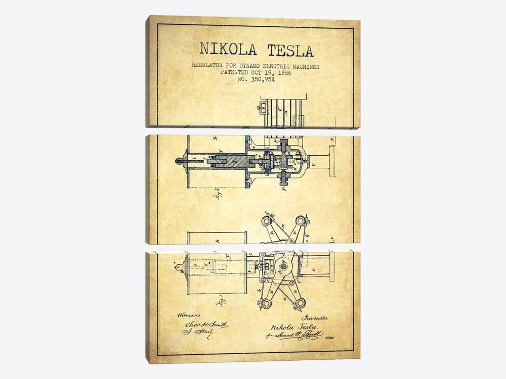 Tesla Regulator Vintage Patent Blueprint by Aged Pixel 3-piece Canvas Art Print