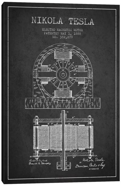 Electro Motor Charcoal Patent Blueprint Canvas Art Print