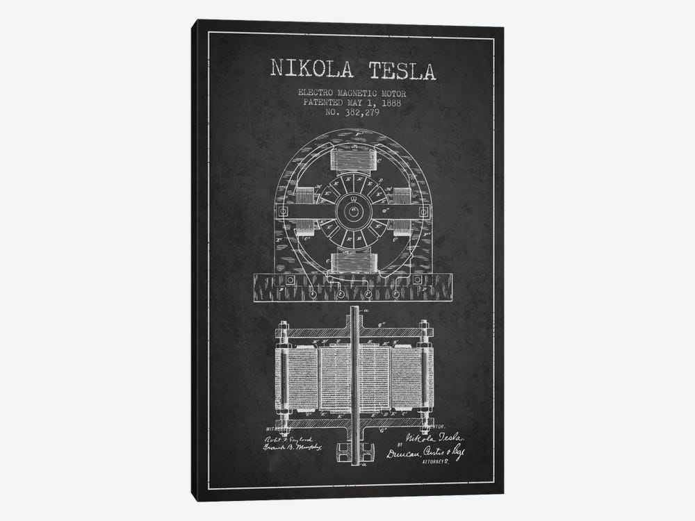 Electro Motor Charcoal Patent Blueprint by Aged Pixel 1-piece Canvas Wall Art