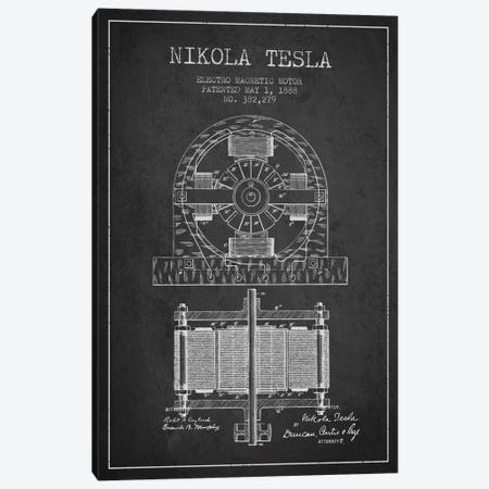 Electro Motor Charcoal Patent Blueprint Canvas Print #ADP536} by Aged Pixel Canvas Art
