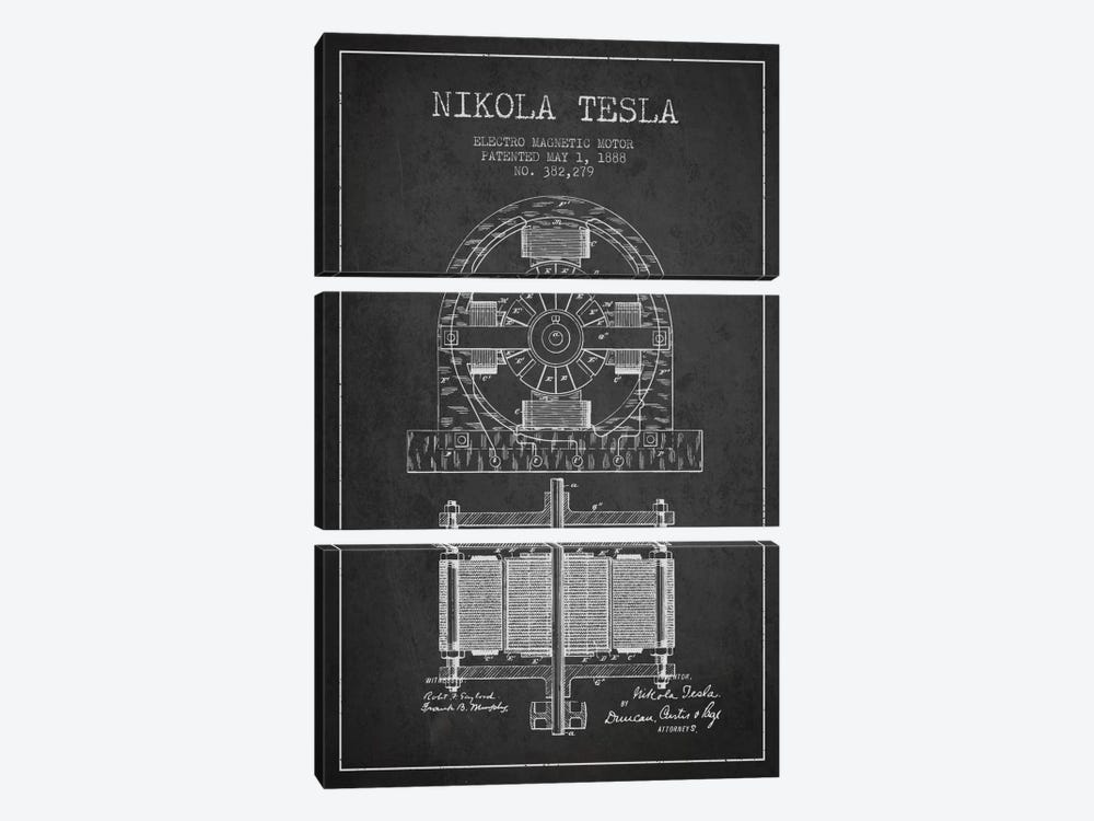 Electro Motor Charcoal Patent Blueprint by Aged Pixel 3-piece Canvas Artwork