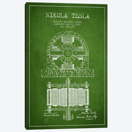 Electro Motor Green Patent Blueprint Canvas Print #ADP537} by Aged Pixel Canvas Art
