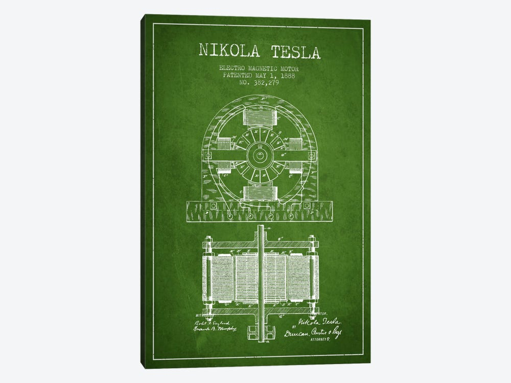Electro Motor Green Patent Blueprint by Aged Pixel 1-piece Art Print