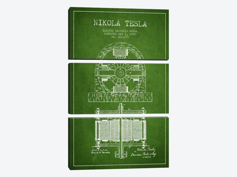 Electro Motor Green Patent Blueprint by Aged Pixel 3-piece Canvas Print