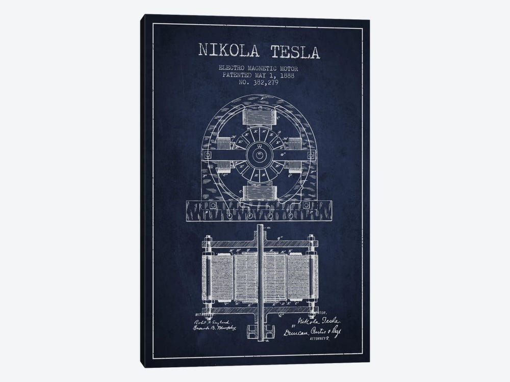Electro Motor Navy Blue Patent Blueprint by Aged Pixel 1-piece Canvas Artwork