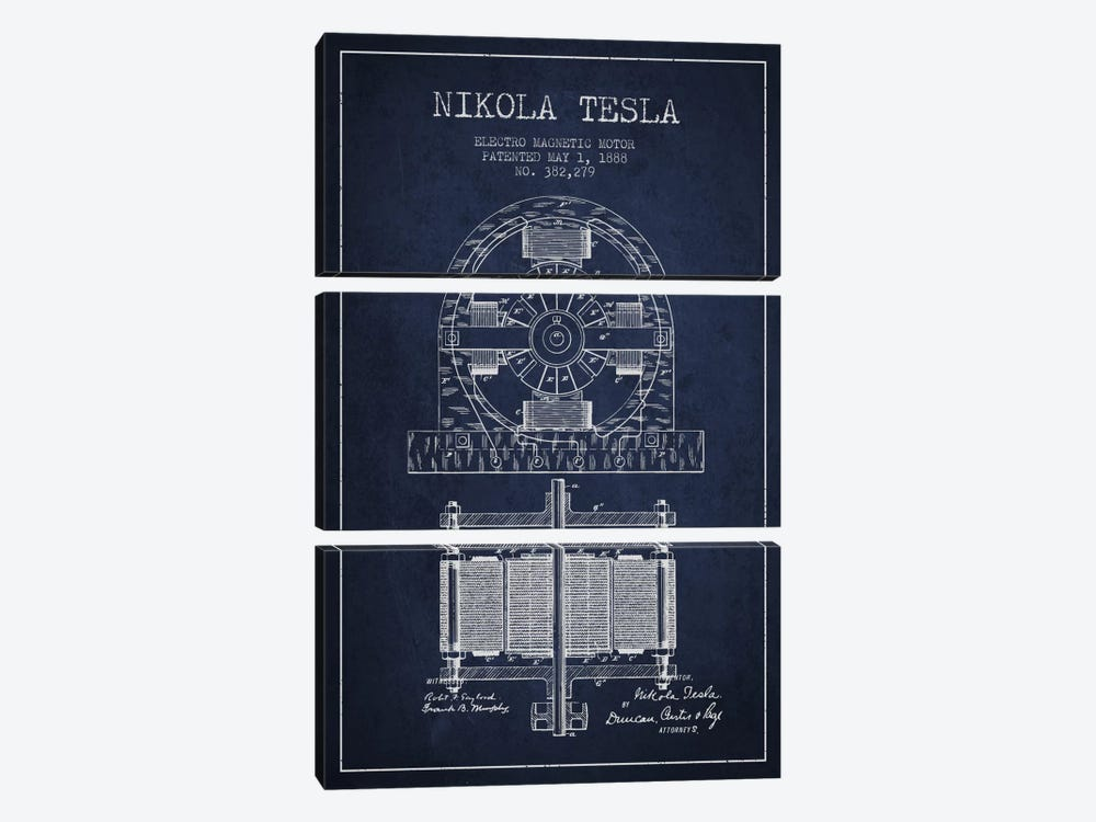 Electro Motor Navy Blue Patent Blueprint by Aged Pixel 3-piece Canvas Art