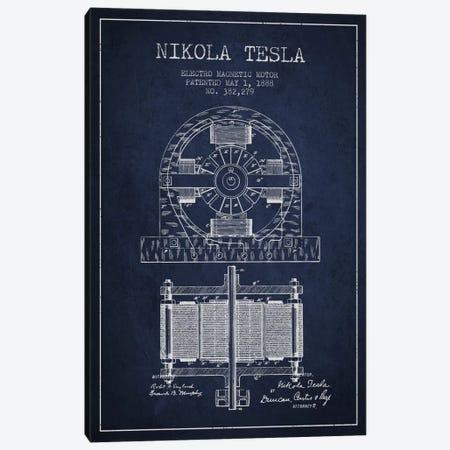 Electro Motor Navy Blue Patent Blueprint Canvas Print #ADP538} by Aged Pixel Art Print