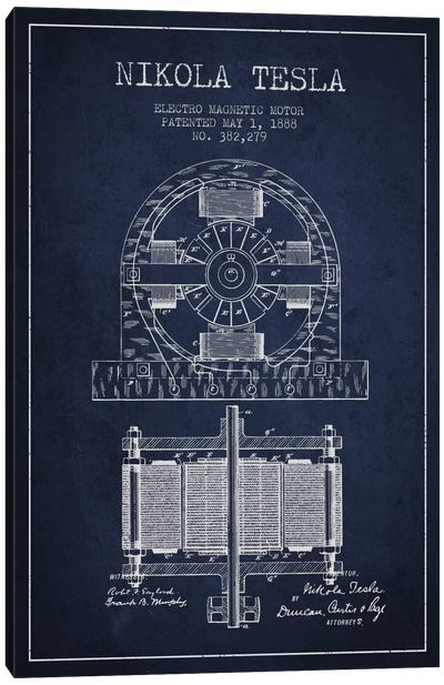 Electro Motor Navy Blue Patent Blueprint Canvas Art Print