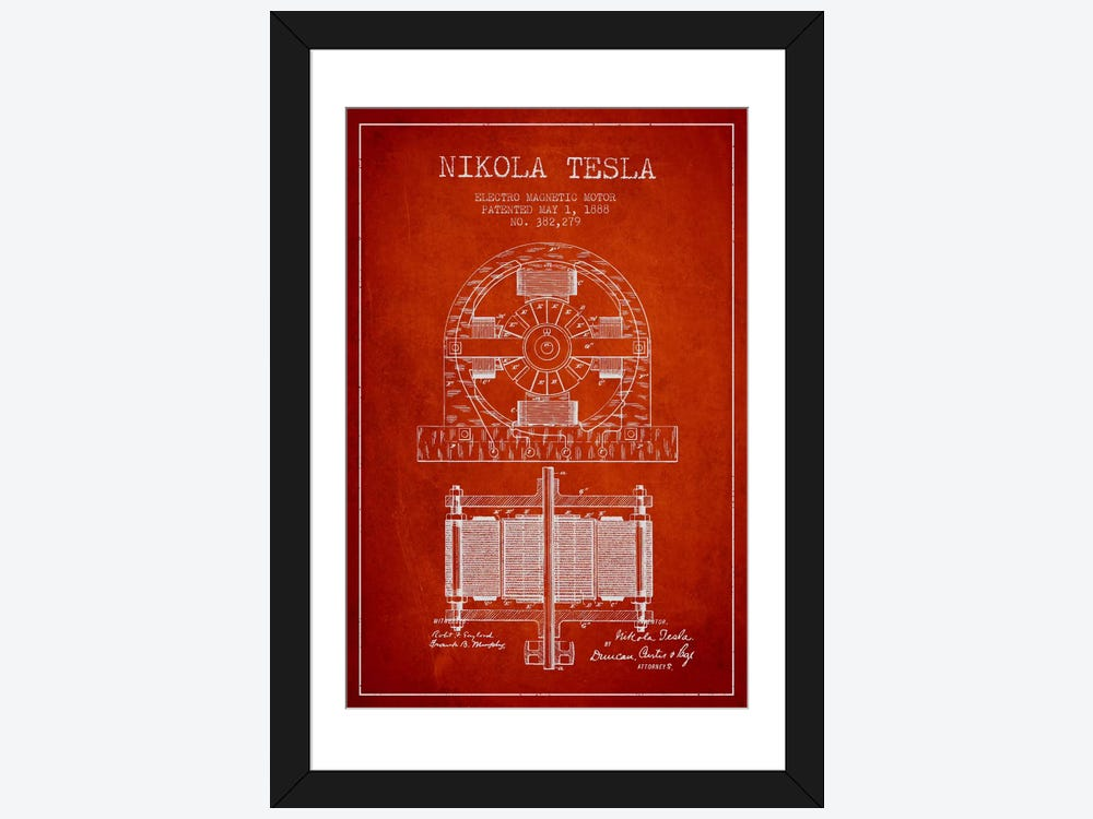 Electro motor red patent blueprint framed art print by aged pixel electro motor red patent blueprint 1 piece canvas print malvernweather Image collections
