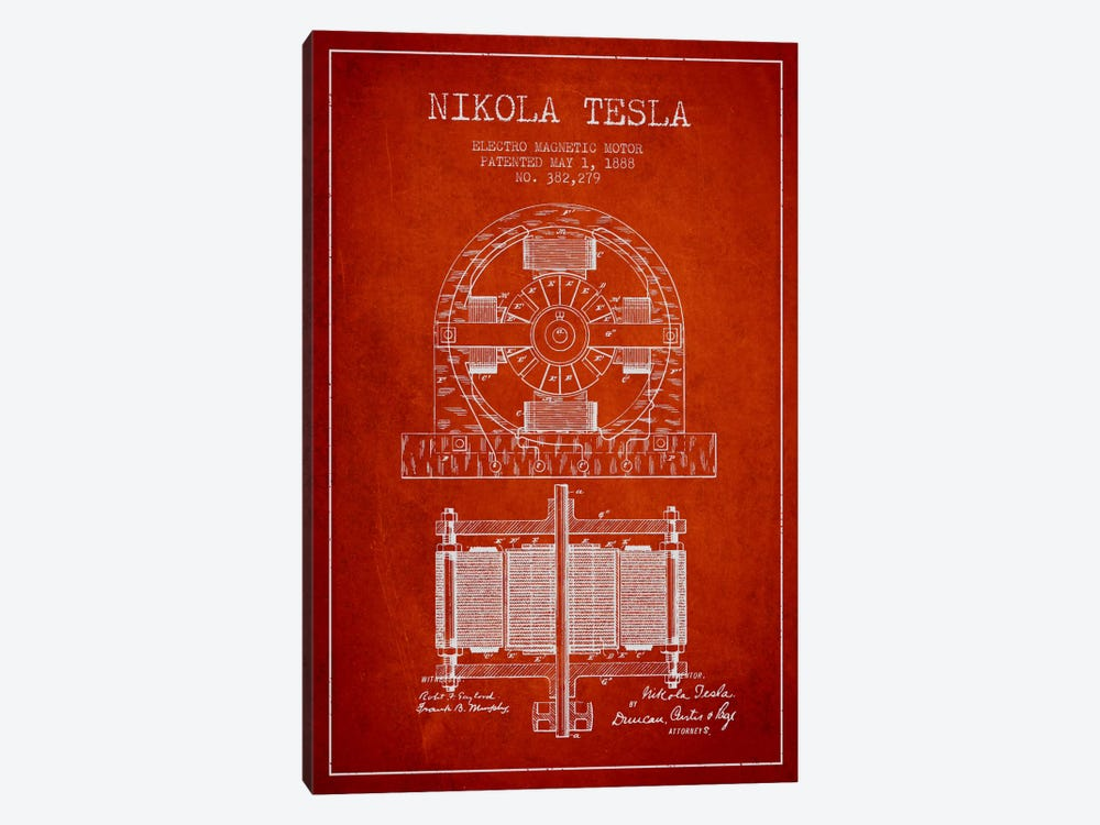 Electro Motor Red Patent Blueprint by Aged Pixel 1-piece Canvas Print