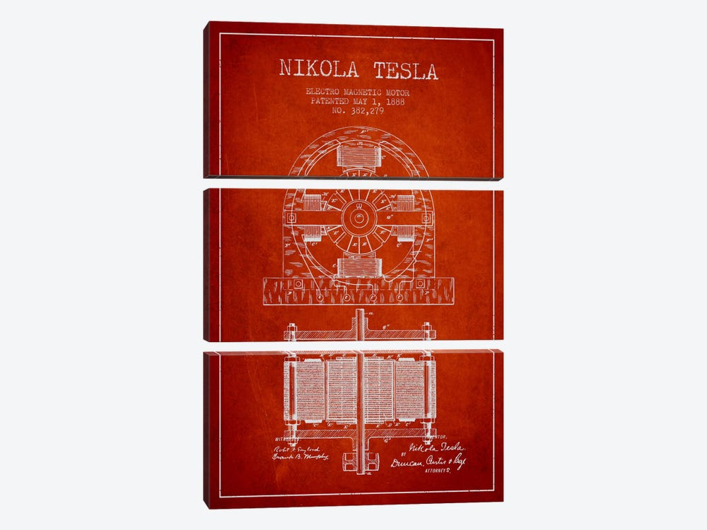 Electro Motor Red Patent Blueprint by Aged Pixel 3-piece Art Print