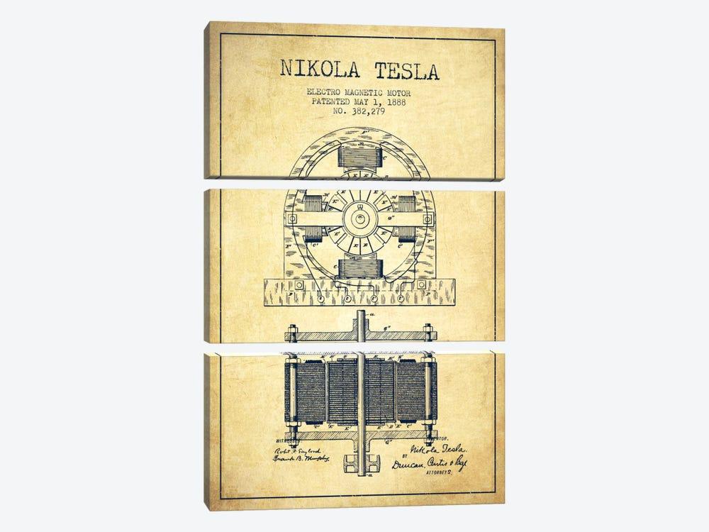 Electro Motor Vintage Patent Blueprint by Aged Pixel 3-piece Canvas Art Print
