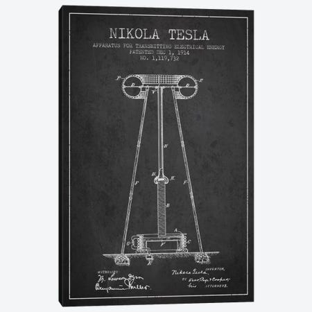 Tesla Apparatus Energy Charcoal Patent Blueprint Canvas Print #ADP541} by Aged Pixel Canvas Wall Art
