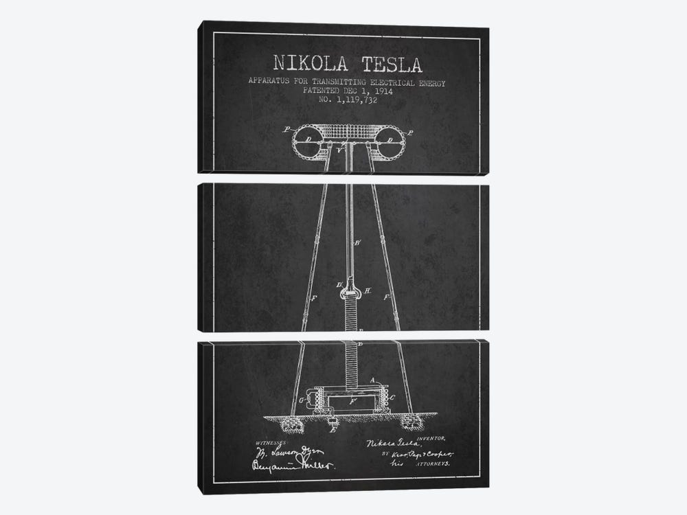Tesla Apparatus Energy Charcoal Patent Blueprint by Aged Pixel 3-piece Canvas Artwork