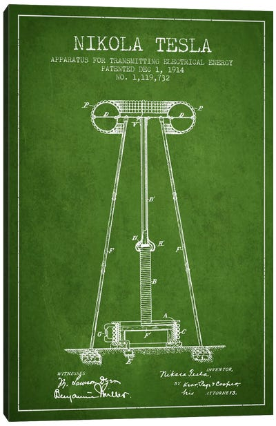 Tesla Apparatus Energy Green Patent Blueprint Canvas Print #ADP542