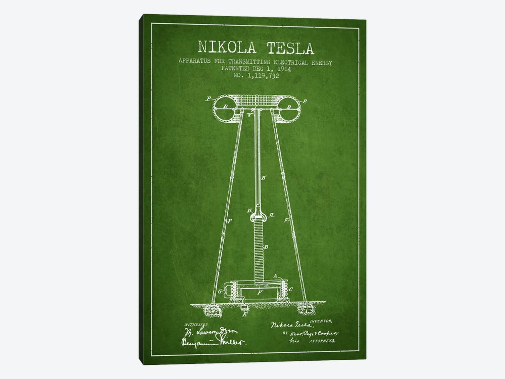 Tesla Apparatus Energy Green Patent Blueprint by Aged Pixel 1-piece Canvas Art Print