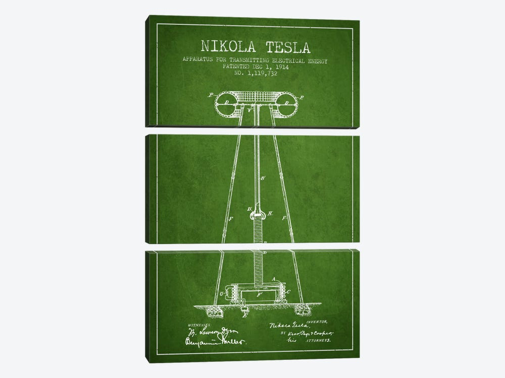 Tesla Apparatus Energy Green Patent Blueprint by Aged Pixel 3-piece Canvas Art Print