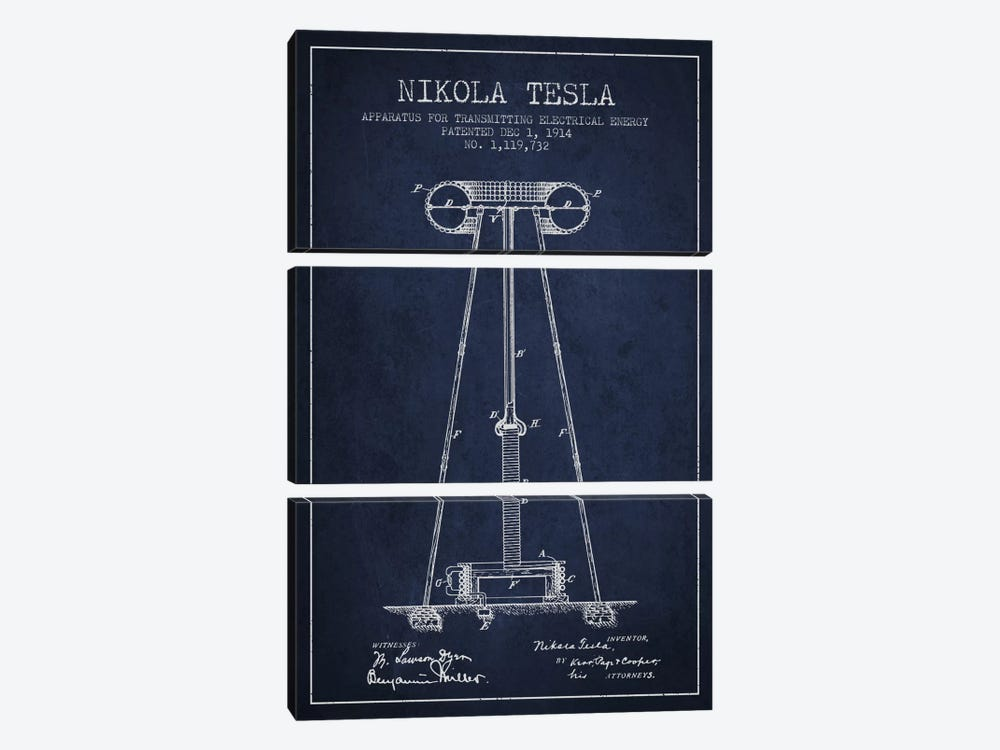 Tesla Apparatus Energy Navy Blue Patent Blueprint by Aged Pixel 3-piece Canvas Wall Art