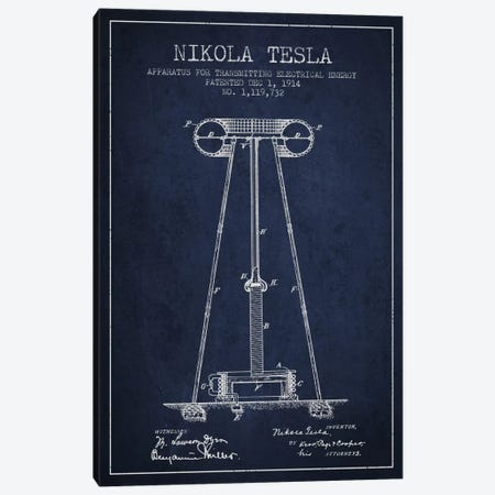 Tesla Apparatus Energy Navy Blue Patent Blueprint Canvas Print #ADP543} by Aged Pixel Canvas Wall Art