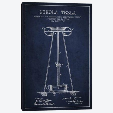 Tesla Apparatus Energy Navy Blue Patent Blueprint Canvas Print #ADP543} by Aged Pixel Canvas Wall Art