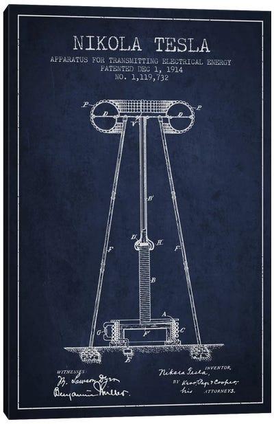 Tesla Apparatus Energy Navy Blue Patent Blueprint Canvas Art Print