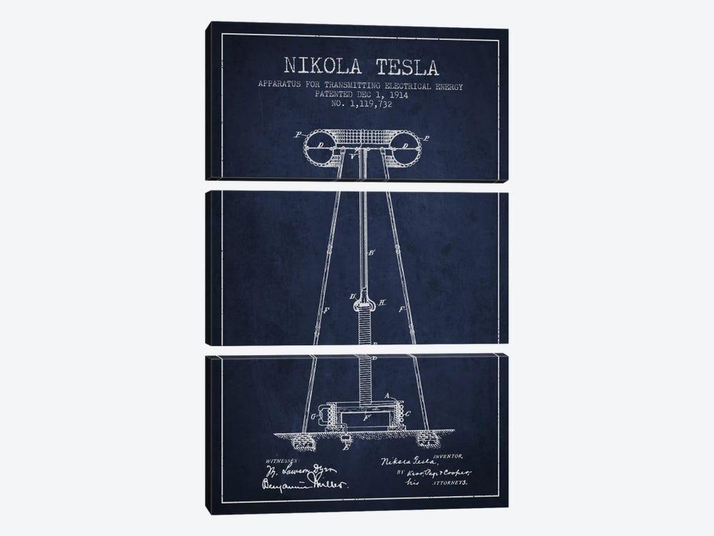 Tesla Apparatus Energy Navy Blue Patent Blueprint by Aged Pixel 3-piece Canvas Wall Art
