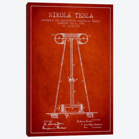 Tesla Apparatus Energy Red Patent Blueprint Canvas Print #ADP544} by Aged Pixel Canvas Print