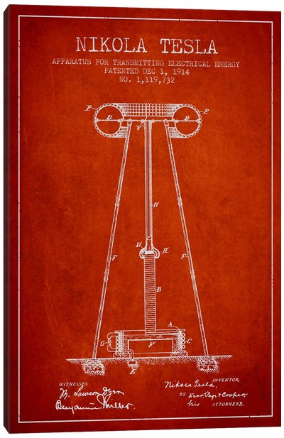Tesla Apparatus Energy Red Patent Blueprint Canvas Print #ADP544