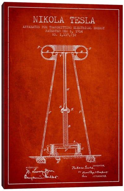 Tesla Apparatus Energy Red Patent Blueprint Canvas Print #ADP544