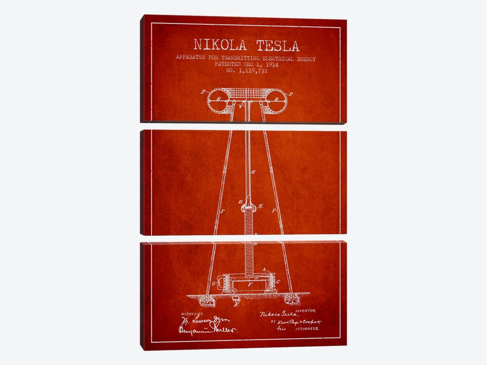 Tesla Apparatus Energy Red Patent Blueprint by Aged Pixel 3-piece Canvas Print