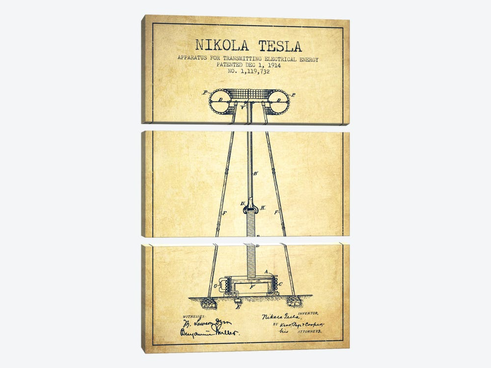 Tesla Apparatus Energy Vintage Patent Blueprint by Aged Pixel 3-piece Canvas Artwork